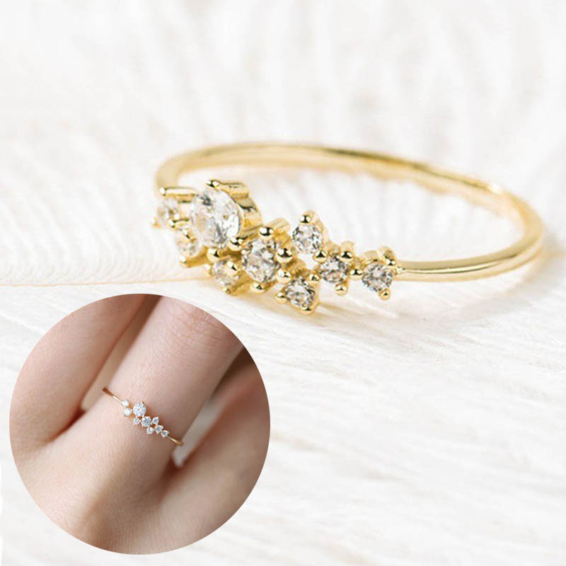 Women Lady Finger Ring Crystals Wedding Engagement Rings KQS8