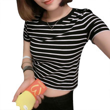 New 2018 Women Tops Summer Ladies T shirt Sexy Crop Tops Striped Short Sleeved T shirt
