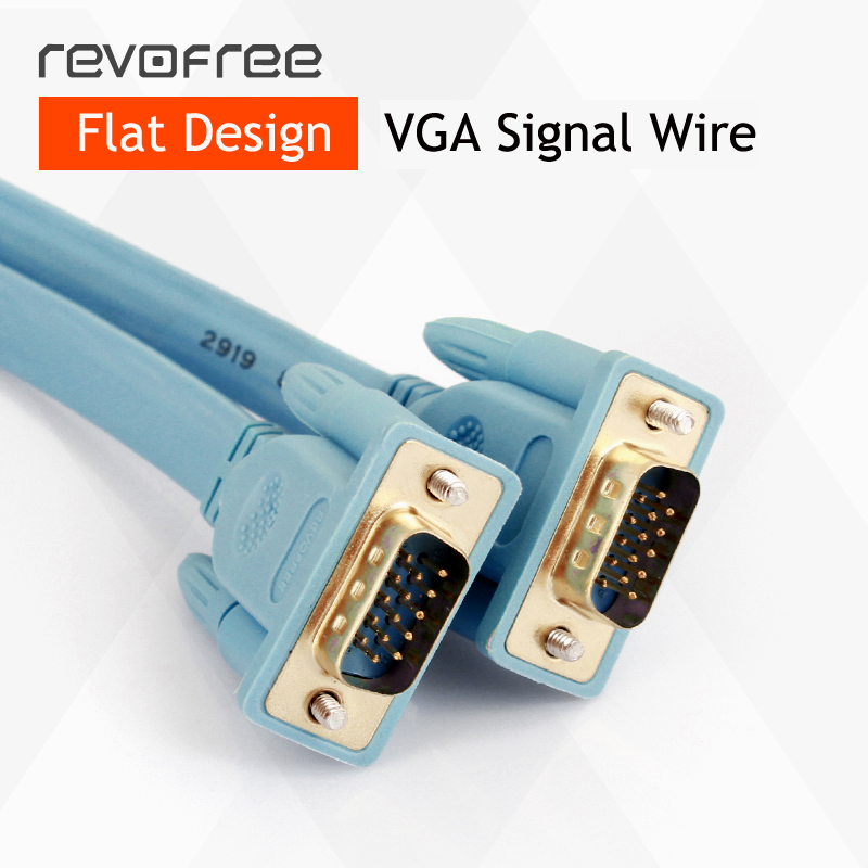 VGA flat wire cable line 3M computer monitor TV extension cord cable connect display or projector 3+6 HD VGA cable