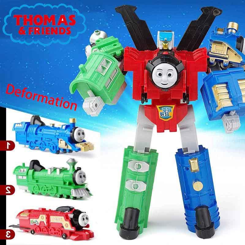 Thomas & amigos brinquedos do carro crianças thomas trem deformação robô diy presente de aniversário das crianças brinquedo de ação figuras brinquedos para meninos