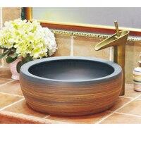"16"" ROUND ART SINK vessel Jingdezhen bathroom handmade ceramic basin Bathroom Sinks     -"