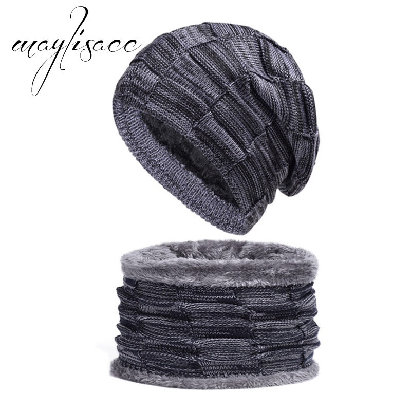 Maylisacc 2018 Unisex Wool Winter Warm Knitted Cap With Scarf Set For Women Outdoor Sport Skating Skiing Scarf Hat Set