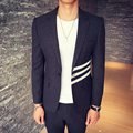Casual Blazer Men Patchtwork Stripe Balzer Cotton Wool Blend Slim Fit Men Designer Blazer Masculino Casual Blazers for Men 2016