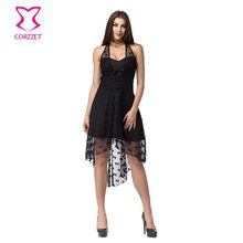 ФОТО corzzet vintage black lace  halter polka dot dress burlesuqe steampunk skirt bustiers top plus size gothic dress