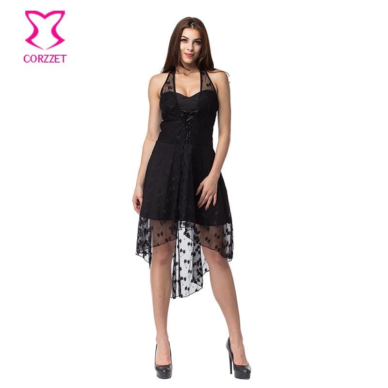 Corzzet Vintage Black Lace Halter Polka Dot Dress Burlesuqe Steampunk Dress Bustiers Top Plus Size Gothic Dress