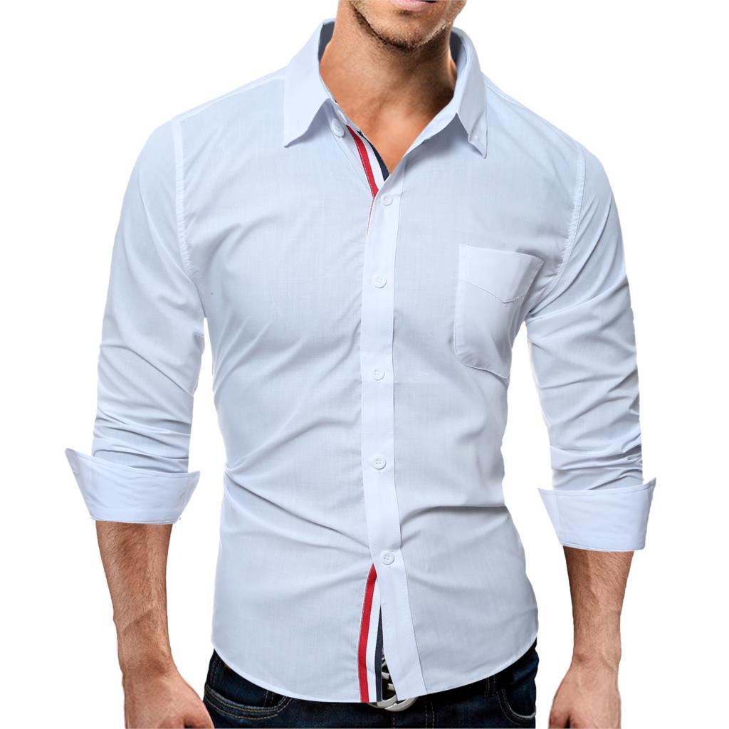 Brand 17 Fashion Male Shirt Long-Sleeves Tops Color Casual Mens Dress Shirts Slim Men Shirt 3XL ASDF 6