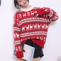 a002f8ccd Winter Women Christmas Sweater With Deer Jacquard Korean O Neck Long Sleeve  Pullover Thicken Warm Loose