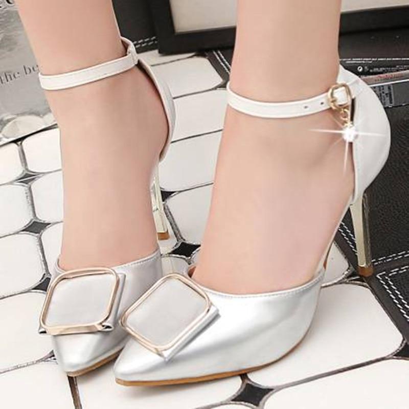 Nouvelle Femmes Pompes Bout Sexy Stiletto Mode Chaussures Pointu Silver D'été 2018 Talons gold Marque Hauts ZUqdZxA