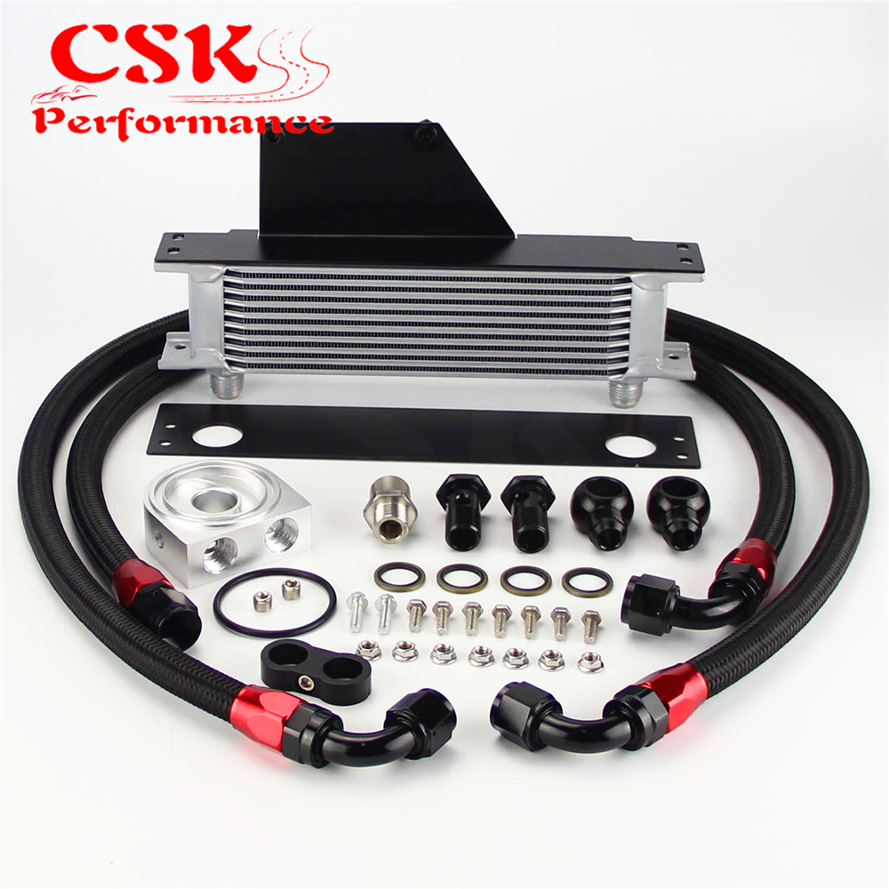 10 Row AN10 Racing Engine Oil Cooler Kit Fits For 01-05 Subaru Impreza WRX/STi Silver/Black 10 row thermostat adaptor engine racing oil cooler kit for car truck black
