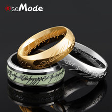 ELSEMODE Real Stainless Steel the Lord of One Ring Fluorescent Glowing Lovers Women Men Fashion Jewelry Drop Shipping(China)