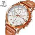 OCHSTIN Chronograph Casual Watch Men Luxury Brand Quartz Military Sport Watch Genuine Leather Men's Wristwatch relogio masculino