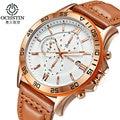 Ochstin chronograph casual assista homens de luxo da marca quartz relógio de pulso relogio masculino militar relógio do esporte dos homens de couro genuíno