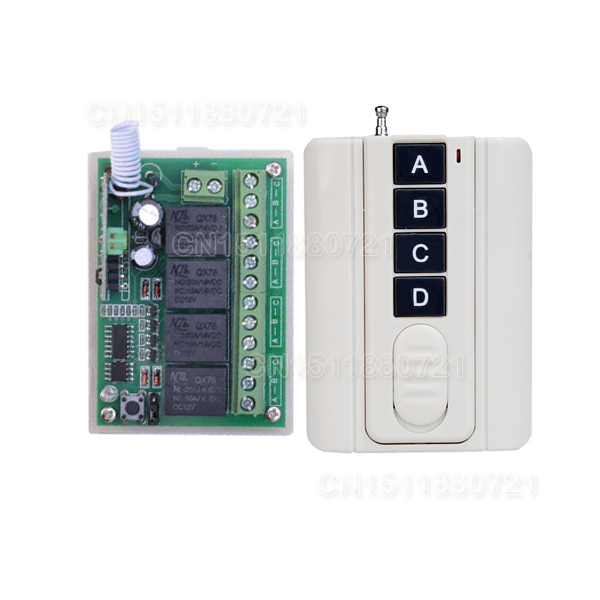DC 12V 4CH Relay Receiver Transmitter RF Remote Control Switch Wireless Controller 315/433 Long Range Remote Switch new dc 12v 10a 4ch rf wireless relay remote control switch 315mhz 433mhz transmitter