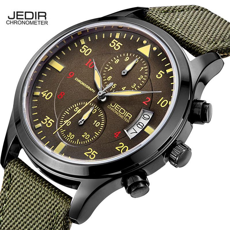 Prix pour Hommes Montres Top Marque De Luxe JEDIR Mens Armée Militaire Montre-Bracelet Chronographe En Nylon Bracelet de Montre À Quartz Horloge relogio masculino