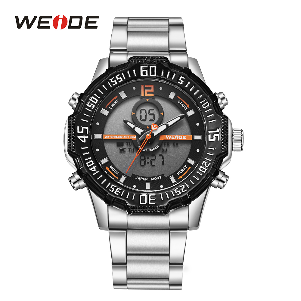 WEIDE Sport Dual Quartz Movement Digital Stopwatch Back Light Analog Day Stainless Steel Band Strap Hardlex Wrist Watch For Men weide men sport watch black nylon strap quartz movement military watch analog round dial hardlex buckle mens clock wristwatches