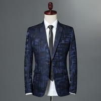 Male Suite 2018 Autumn Classic Brand Blazer Men Single Button Casual Print Slim Fit Business Suit Jacket Wine red Grey Khaki