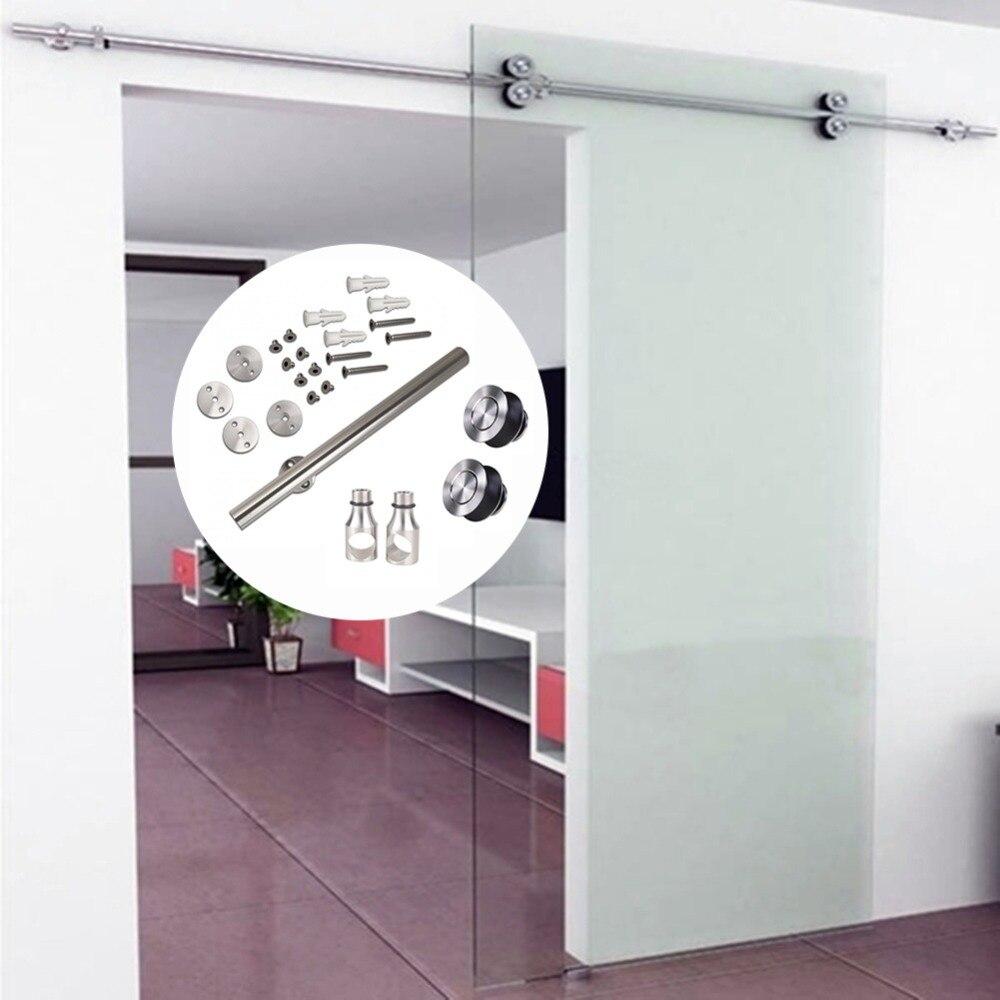 6.6FT Stainless Steel Interior Shower Glass Sliding Barn Door Hardware Track Kit