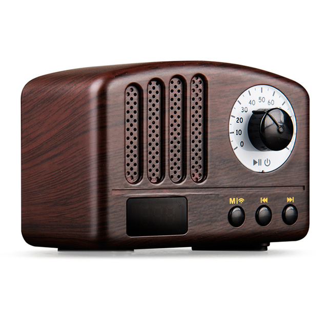 Clic Retro Bluetooth Speaker Wood 5w Loudspeaker Supprot Tf Card Aux Fm Radio Music Soundbar Wireless