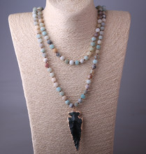 a633440b7a7d MOODPC moda 130 cm largo nudo amazonita piedras Arrowhead colgante collar  de las mujeres de piedra Natural collar de cuentas