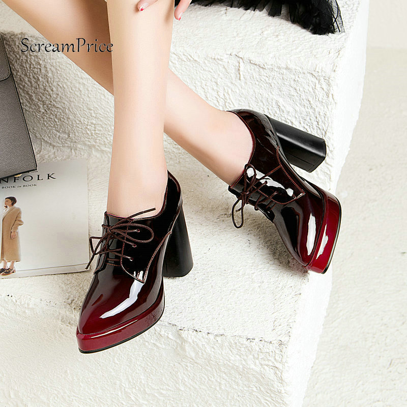 Platform Square High Heel Lace Up Woman Genuine Leather Pumps Fashion Pointed Toe Dress Shoes Woman Black Wine Red woman comfort sqaure heel fur genuine leather pumps fashion pointed toe dress lazy high heel shoes woman black wine red