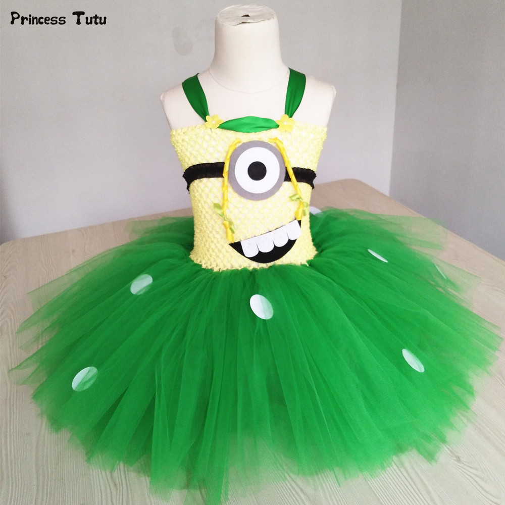 Green,Blue Cartoon Princess Tutu Dress Girl Kids Halloween Cosplay Minion Costume Children Baby Girl Birthday Party Tulle Dress light blue elsa dress girls princess dress kids wedding birthday party tutu dress tulle baby girl halloween cosplay elsa costume