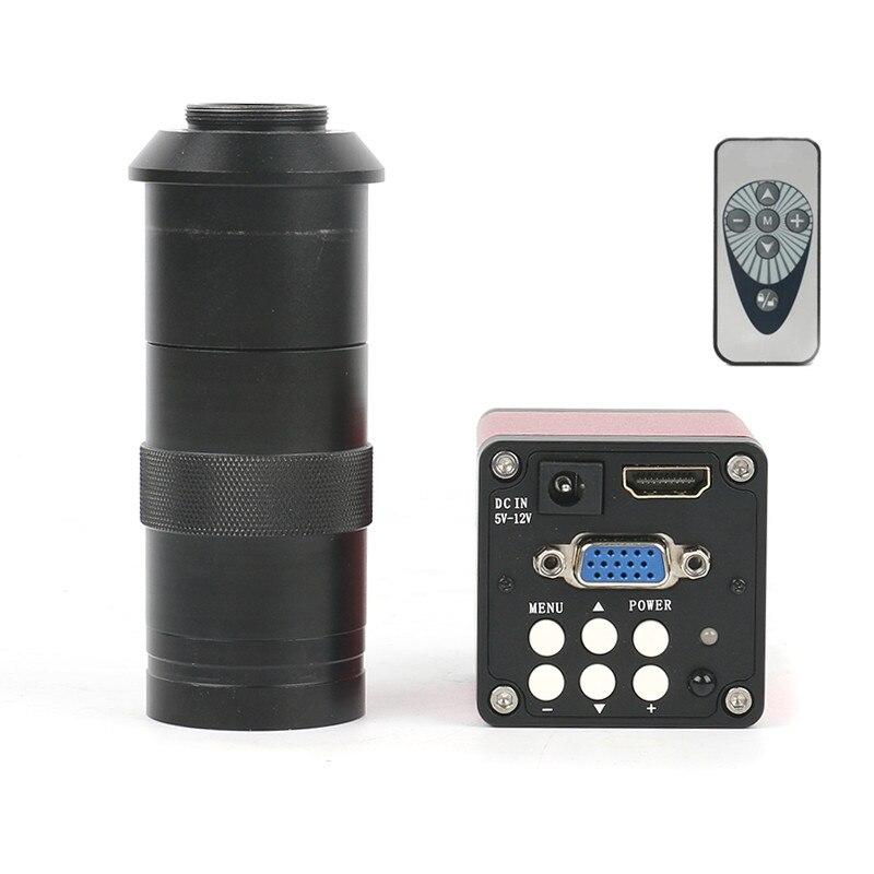 Version améliorée 14MP HDMI VGA HD L'industrie 60F/S Vidéo Microscope Caméra 8 ~ 130X Zoom c-mount lentille + télécommande