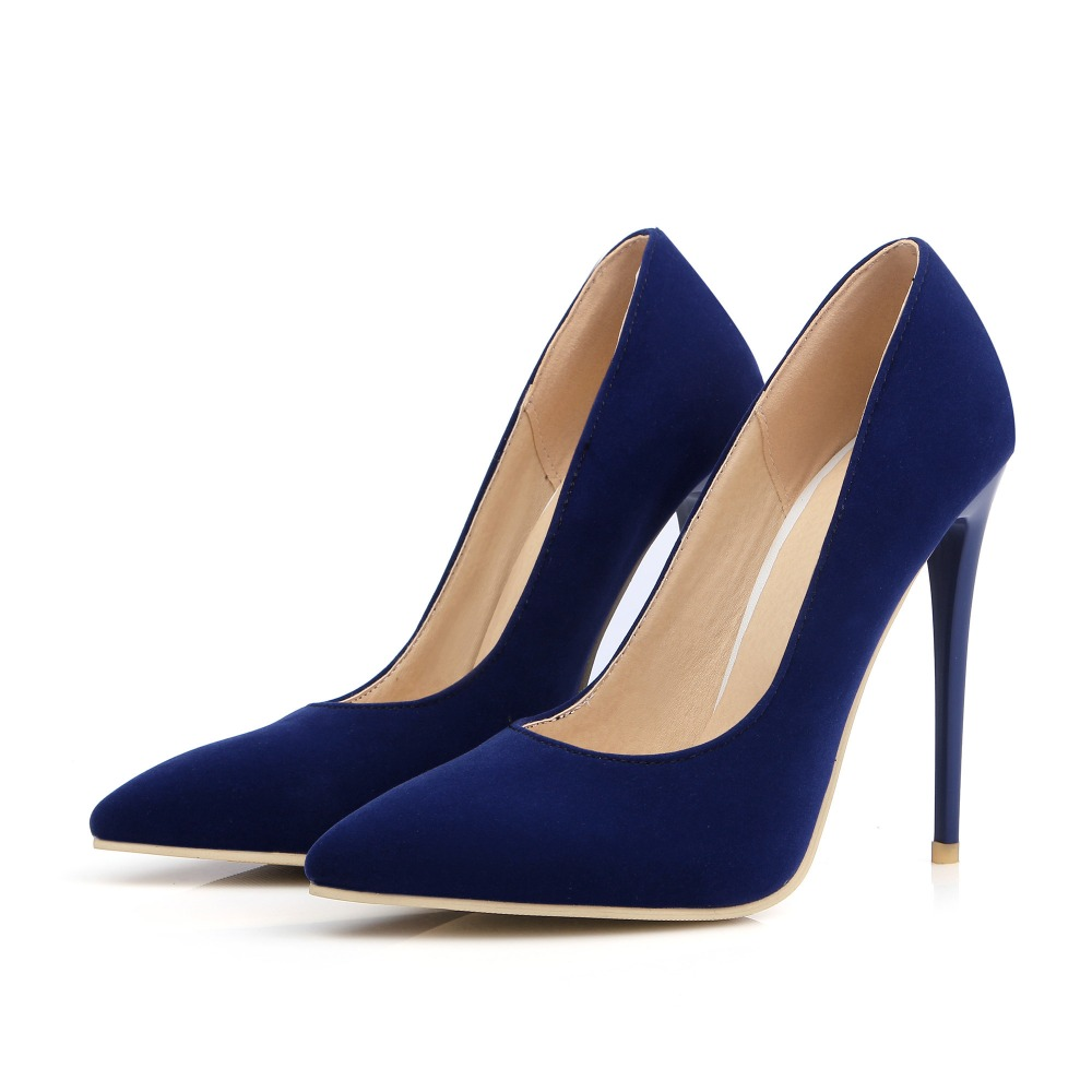 Hohe dünne Fersen 12cm 10cm Nubukleder Frauen Schuhe Mode spitze - Damenschuhe - Foto 3