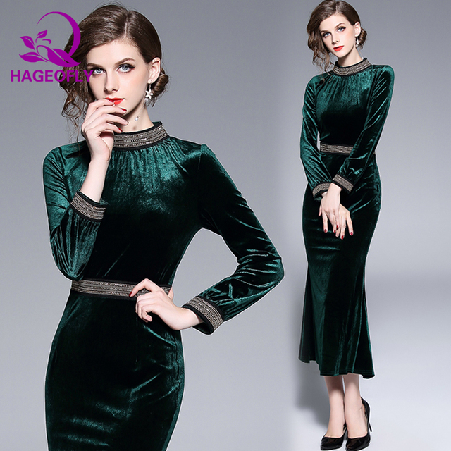 New Beading Velvet Dress Women Autumn Slim Bodycon Midi Calf Dark Green Runway Party Women's Dresses Vestidos 2018