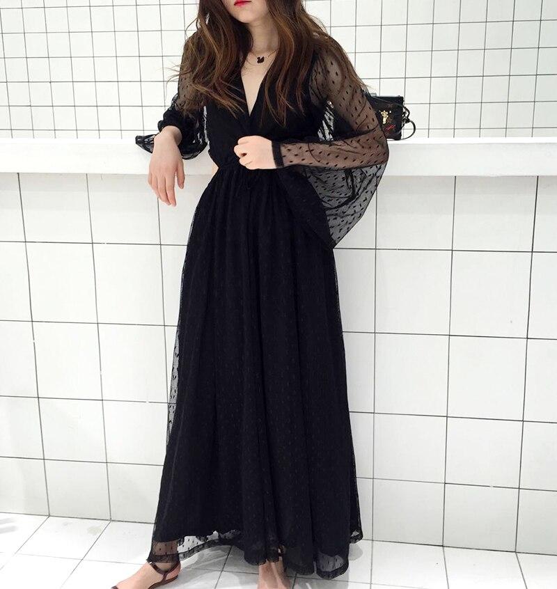 0568db19708d SALE 2019 elegant summer dress black dot embroidery backless sexy long  sleeve high waist mesh beach