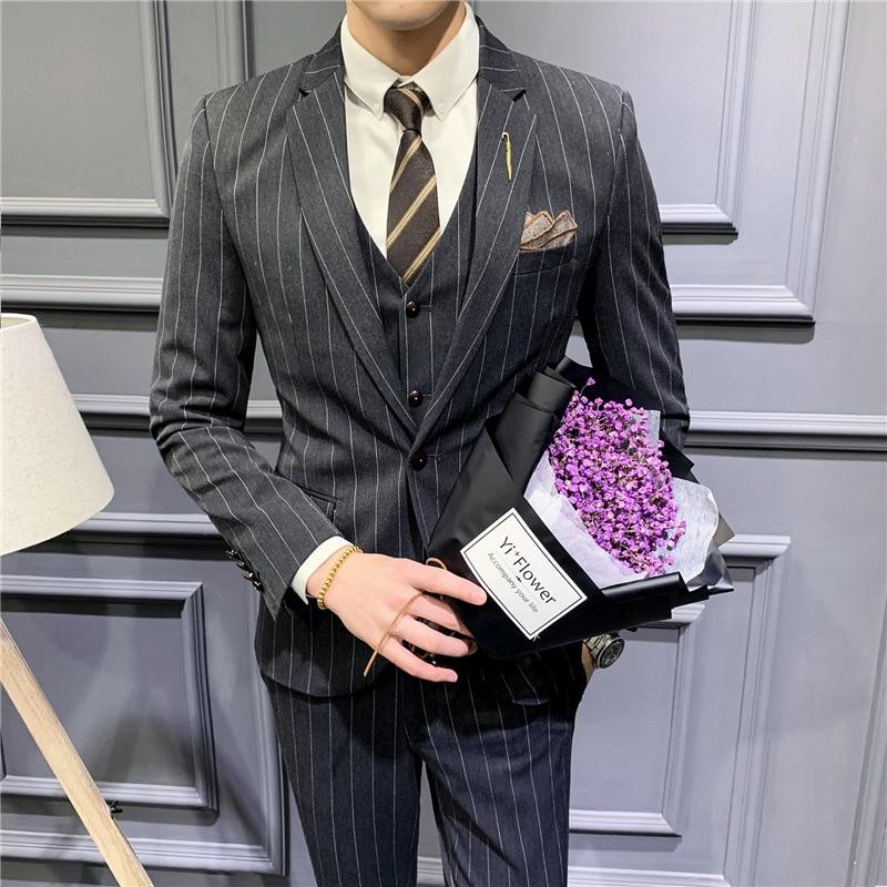 Костюм полосатый мужской, приталенный костюм, деловая повседневная одежда, деловой костюм, 3 предмета