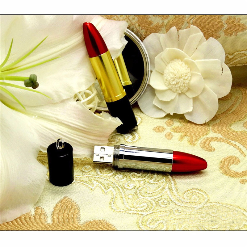gadget 2017 innovative Beautiful custom logo Red Lipstick Pen Flash font b Drive b font Memory