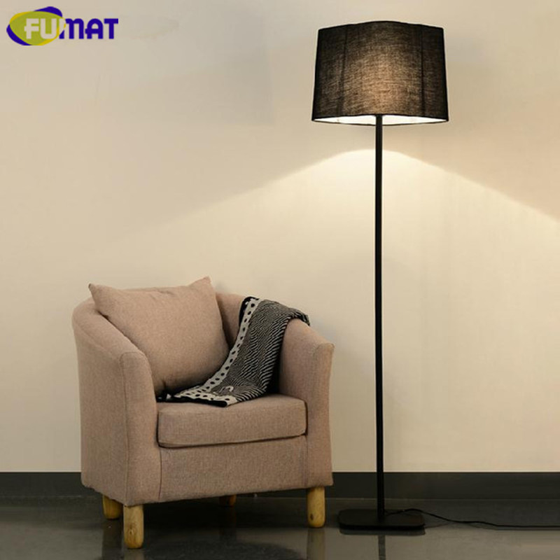 FUMAT Floor Lamp Nordic Simple Bedroom Living Room Standing Lamp Modern  European Fashion Black White Fabric Shade Floor Lighting