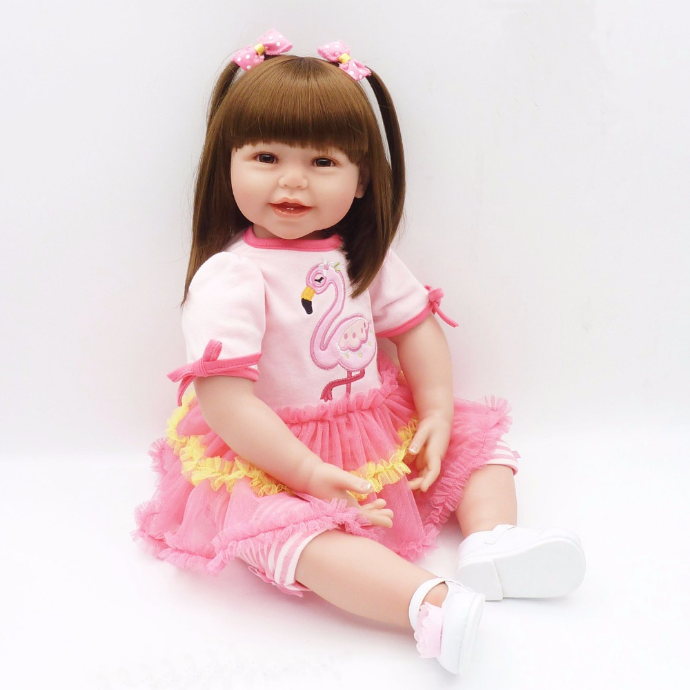 Poursuivre 24 /60 cm Belle Sourire Visage Reborn Silicone Enfant Princesse Fille Baby Alive Poupée Corps En Coton Doux poupée pour la Collecte