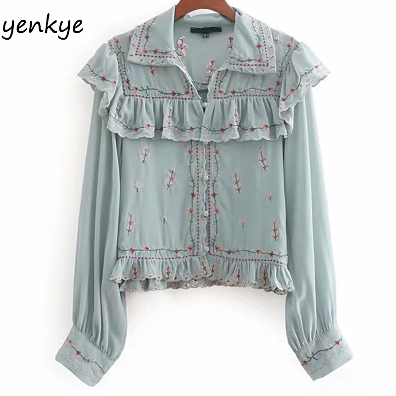 Autumn Women Floral Embroidery Ruffled Blouse Lady Turn-down Collar Long Sleeve Fashion Cr