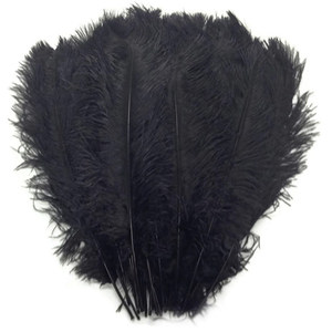 10pcs/lot 15-70CM Black ostrich feather stage costume wedding decoration feathers supplies Carnival dancer decoration plumage(China)