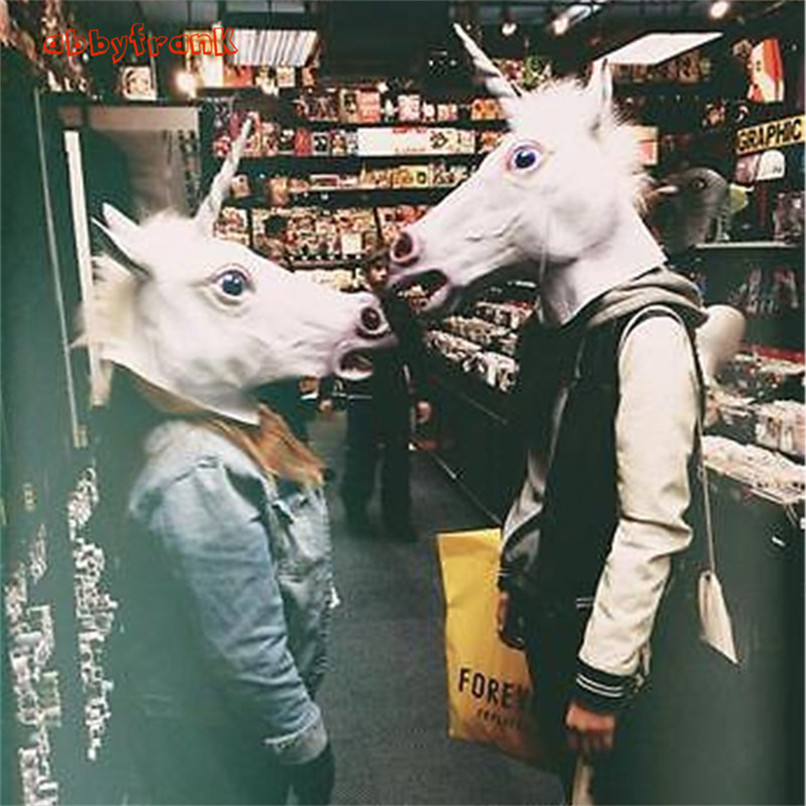 Abbyfrank Novelty Unicorn Mask Head Horse Mask Crazy Animal Mask Costume Latex Horror Prank Prop Halloween Anonymous Funny Toy