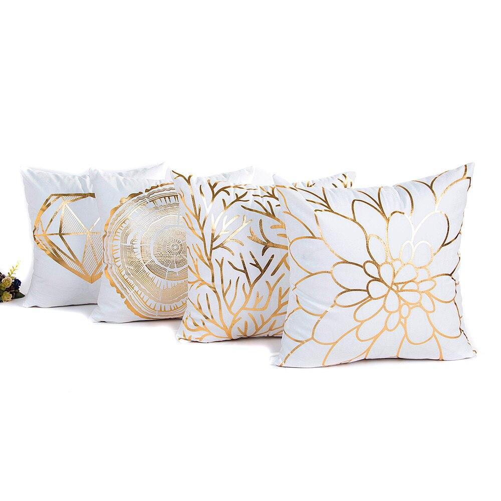 45 см * 45 см площадь Золото Фольга печати Наволочки диван талии Пледы Чехлы для подушек Домашний Декор
