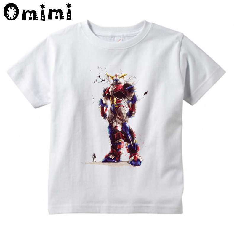 Children's Japanese Robot Series Grendizer T-shirts Boy and Girl Summer Short Sleeve White T Shirts Kid Clothing Tops