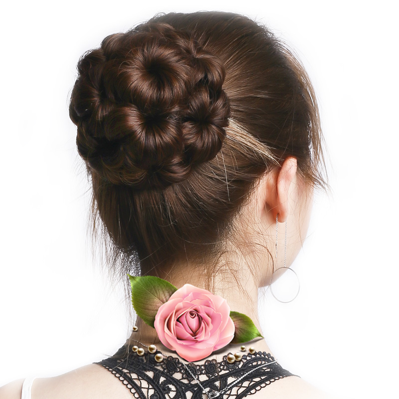 DIFEI Synthetic High Temperature Fiber Chignon Women Chignon Hair Bun Donut Clip In Hairpiece Extensions 9 Flowers ...