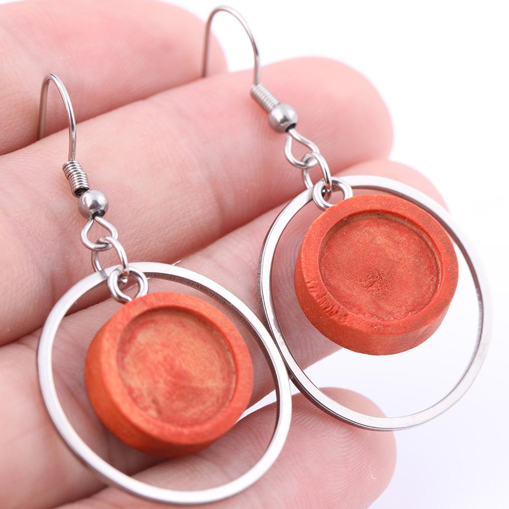 10pcs 12mm Blank Wood Cabochon Earring Base Bezels Diy Stainless Steel Circle Hoops For Jewelry Making Supplies