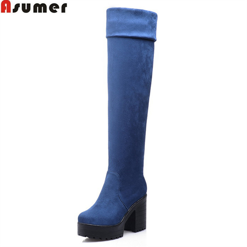 Asumer 2018 hot sale new arrive women boots fashion flock ladies boots simple comfortable knee high boots big size 33-43 кроссовки asicstiger asicstiger as009aujhk94