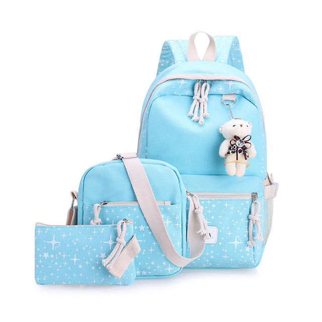 Casual Women Backpacks Canvas Book Bags Preppy Style School Back Bags for Teenage Girls 5