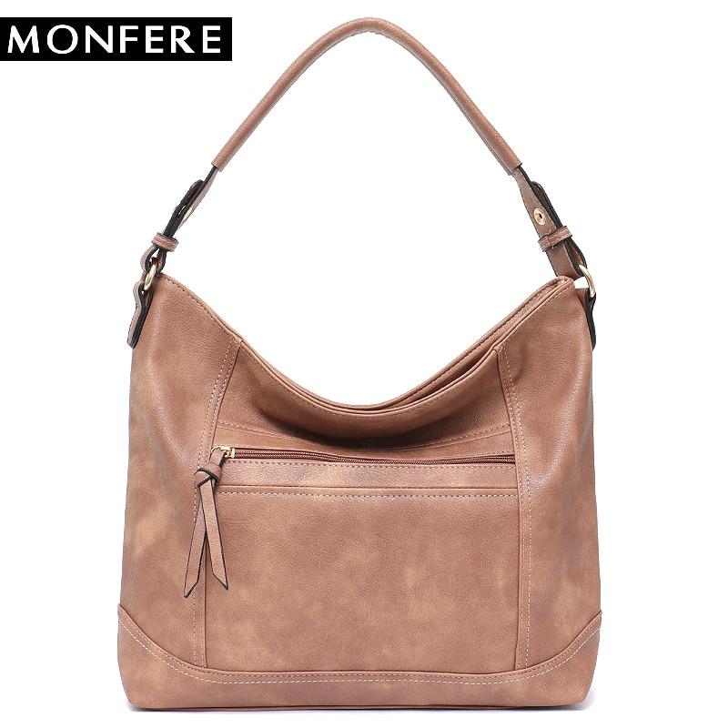 62be891b7299c MONFERE dorywczo torba kobieca miękkie sztuczna skóra Hobo moda dziewczyna  ramię & Messenger Bag ciała krzyż