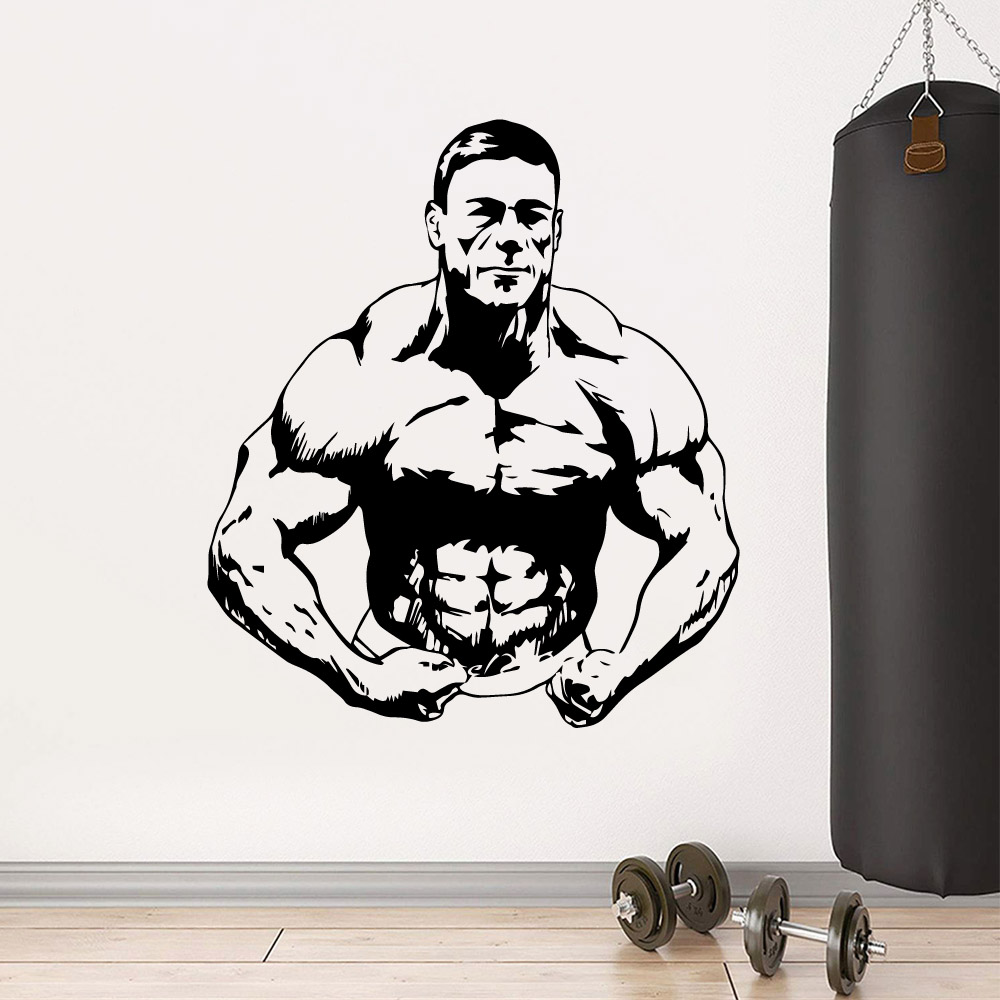Hot Muscle Man Nursery Wall Stickers Vinyl Art Decals Decor Living Room Bedroom Removable MURAL vinilo decorativo