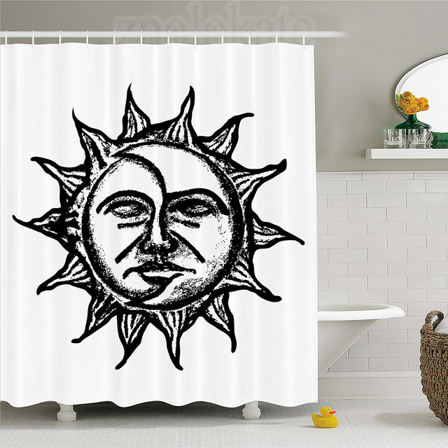 Sun And Moon Shower Curtain Hand Drawn Celestial Artwork Eclipse Inspired Ancient Grungy Display Fabric Bathroom Decor Set Wit