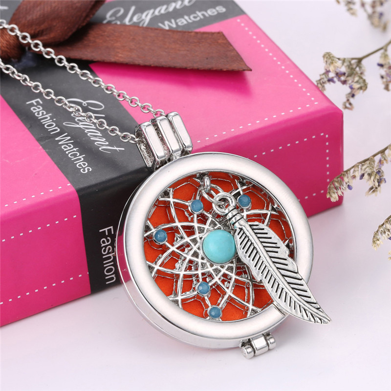 Charm Necklace Perfume Locket Fragrance Oil Dream Catcher Pendant Necklace for Women Diffuser Necklace Jewelry Gift