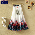 2017 New Fashion Ethnic High quality Women Clothing High Waist Vintage Floral Chiffon Printing Long Skirt for Women