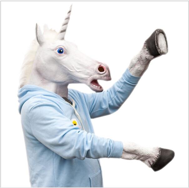 Halloween Kostým Prop Dospělý Latex Jednorožec Maska Koně Rukavice Crazy Hooves Silikonový Kůň Foot Fancy Dress Party Masky na skladě  t