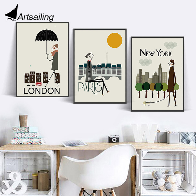 Nordic Wall Art City Cartoon Originality Canvas Painting Pictures For Living Room Scandinavian Posters And