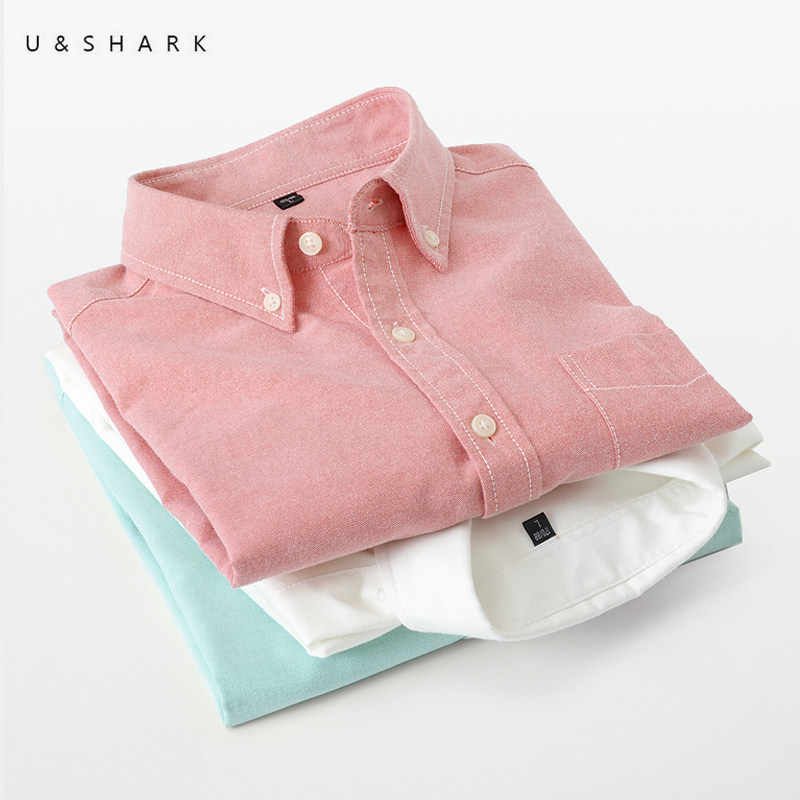 U & SHARK 2018 Herfst Oxford Katoenen Shirt Heren Dress Shirts Merk Kleding Lange Mouw Casual Shirts Slim Fit Sociale shirt Mannelijke